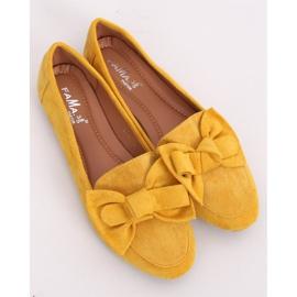 Mokasyny z kokardą miodowe B2028 Yellow żółte 4