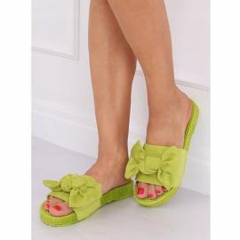 Klapki damskie z kokardą zielone YQ225P Green 1