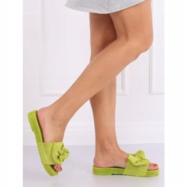 Klapki damskie z kokardą zielone YQ225P Green 3