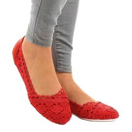 Czerwone ażurowe balerinki 4701 1