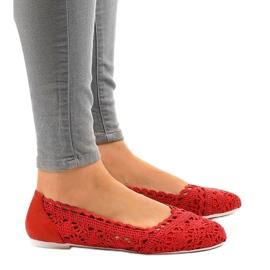 Czerwone ażurowe balerinki 4701 2