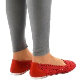 Czerwone ażurowe balerinki 4701 3