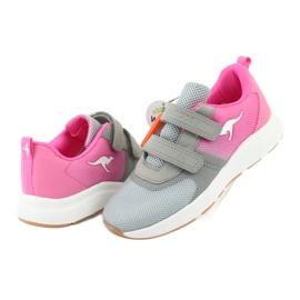 KangaROOS buty sportowe na rzepy 18506 grey/neon pink różowe szare 4