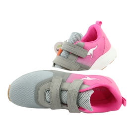 KangaROOS buty sportowe na rzepy 18506 grey/neon pink różowe szare 6