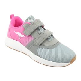 KangaROOS buty sportowe na rzepy 18506 grey/neon pink różowe szare 1