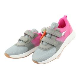KangaROOS buty sportowe na rzepy 18506 grey/neon pink różowe szare 3