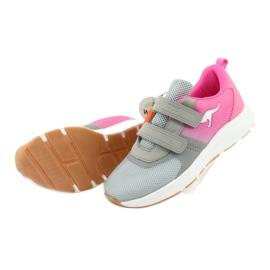 KangaROOS buty sportowe na rzepy 18506 grey/neon pink różowe szare 5