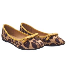Leopard mokasyny balerinki HH17 brązowe 2