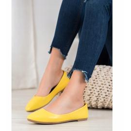 SHELOVET Klasyczne Baleriny Z Eko Skóry żółte 1