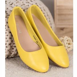 SHELOVET Klasyczne Baleriny Z Eko Skóry żółte 2