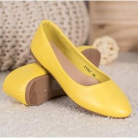 SHELOVET Klasyczne Baleriny Z Eko Skóry żółte 3