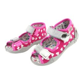 Befado obuwie dziecięce 242P104 różowe szare 4