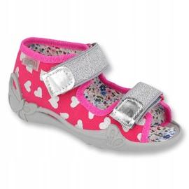Befado obuwie dziecięce 242P104 różowe szare 1