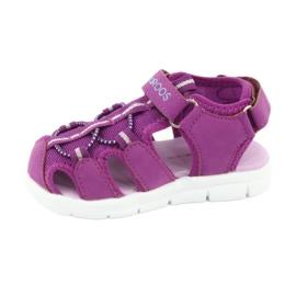 Sandałki dziewczęce serduszka Kangaroos 02035 fioletowe różowe szare 2