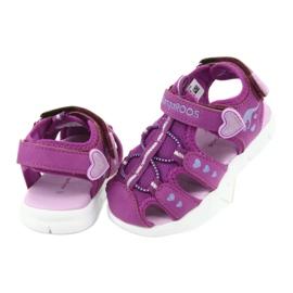 Sandałki dziewczęce serduszka Kangaroos 02035 fioletowe różowe szare 4