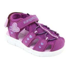 Sandałki dziewczęce serduszka Kangaroos 02035 fioletowe różowe szare 1