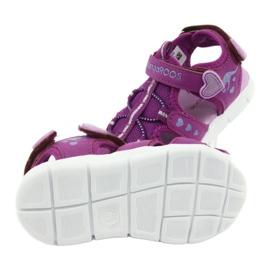 Sandałki dziewczęce serduszka Kangaroos 02035 fioletowe różowe szare 5