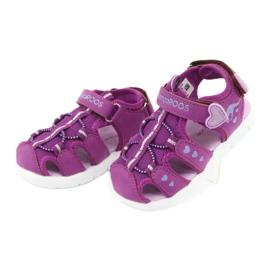Sandałki dziewczęce serduszka Kangaroos 02035 fioletowe różowe szare 3
