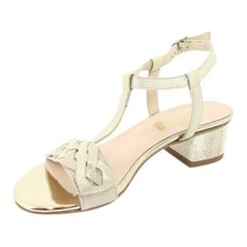 Sandały damskie Gamis 3936 beż/złoty beżowy 2