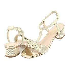 Sandały damskie Gamis 3936 beż/złoty beżowy 4