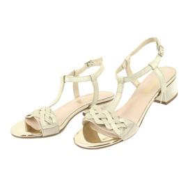 Sandały damskie Gamis 3936 beż/złoty beżowy 3