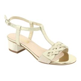 Sandały damskie Gamis 3936 beż/złoty beżowy 1