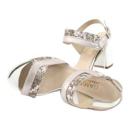 Sandały na słupku Gamis 3942 beżowy różowe srebrny 5