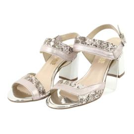 Sandały na słupku Gamis 3942 beżowy różowe srebrny 3