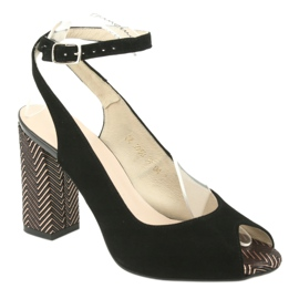 Sandały zamszowe na słupku Gamis czarne żółte 1