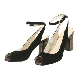 Sandały zamszowe na słupku Gamis czarne żółte 3