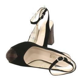 Sandały zamszowe na słupku Gamis czarne żółte 5