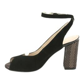 Sandały zamszowe na słupku Gamis czarne żółte 2