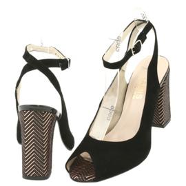Sandały zamszowe na słupku Gamis czarne żółte 4