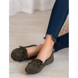 Ideal Shoes Zamszowe Buty Z Frędzlami zielone 2