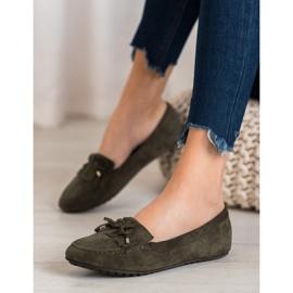 Ideal Shoes Zamszowe Buty Z Frędzlami zielone 1