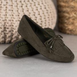 Ideal Shoes Zamszowe Buty Z Frędzlami zielone 3