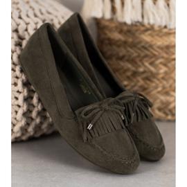 Ideal Shoes Zamszowe Buty Z Frędzlami zielone 4
