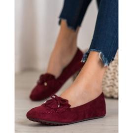 Ideal Shoes Zamszowe Buty Z Frędzlami czerwone 1