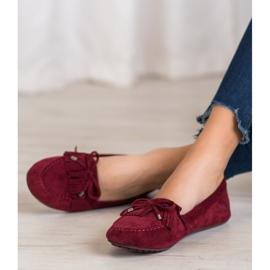 Ideal Shoes Zamszowe Buty Z Frędzlami czerwone 2