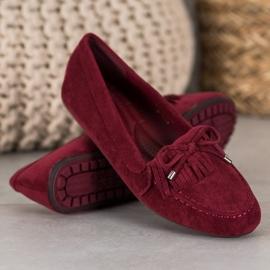 Ideal Shoes Zamszowe Buty Z Frędzlami czerwone 3