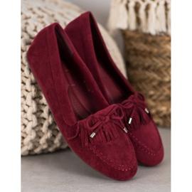 Ideal Shoes Zamszowe Buty Z Frędzlami czerwone 4