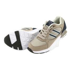 Beżowe Buty Sportowe American Club BS10 białe brązowe granatowe 5