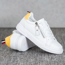 SHELOVET Sportowe Buty Z Ozdobnym Suwakiem białe 4