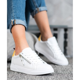 SHELOVET Sportowe Buty Z Ozdobnym Suwakiem białe 2
