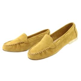 Mokasyny zamszowe damskie Sergio Leone 722 żółte 3