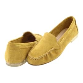 Mokasyny zamszowe damskie Sergio Leone 722 żółte 4