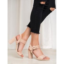 Beżowe Sandały Na Słupku VINCEZA brązowe 1