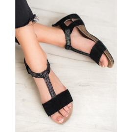 Skórzane Sandały VINCEZA czarne 1