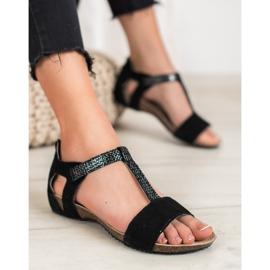 Skórzane Sandały VINCEZA czarne 6