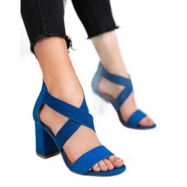 Chabrowe Sandały Na Suwak VINCEZA niebieskie 6